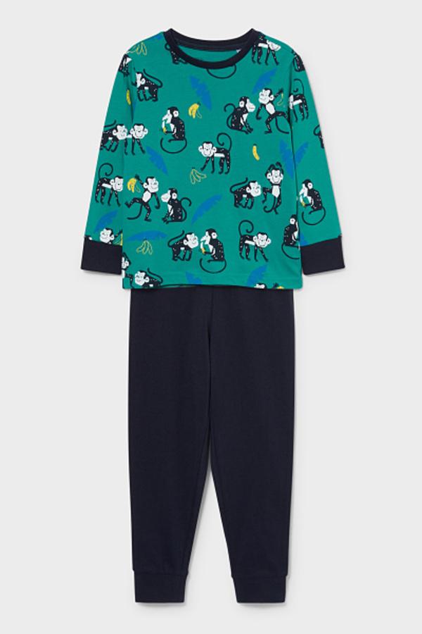 C&A Pyjama-Bio-Baumwolle-2 teilig, Grün, Größe: 92