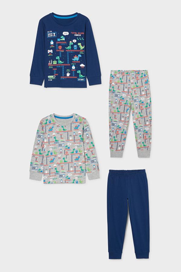 C&A Multipack 2er-Dino-Pyjama, Grau, Größe: 98