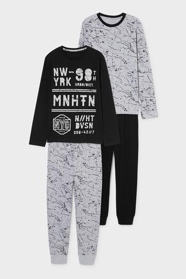 C&A Multipack 2er-Pyjama-Bio-Baumwolle, Schwarz, Größe: 128
