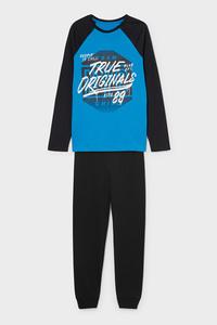 C&A Pyjama-Bio-Baumwolle-2 teilig, Blau, Größe: 128