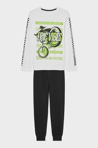 C&A Pyjama-Bio-Baumwolle-2 teilig, Weiß, Größe: 128