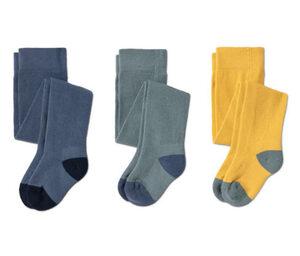 3 Paar Strumpfhosen, grün, gelb, blau