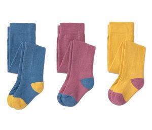 3 Paar Strumpfhosen, gelb, rosa, blau