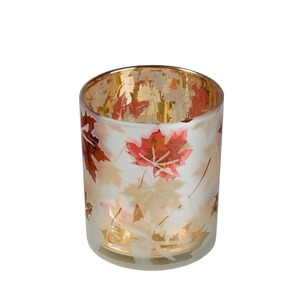 Kerzenglas mit Herbstmotiv