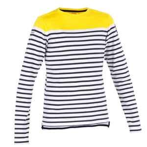 Segelshirt langarm Sailing 100 Maritim Kinder Jungen gelb gestreift