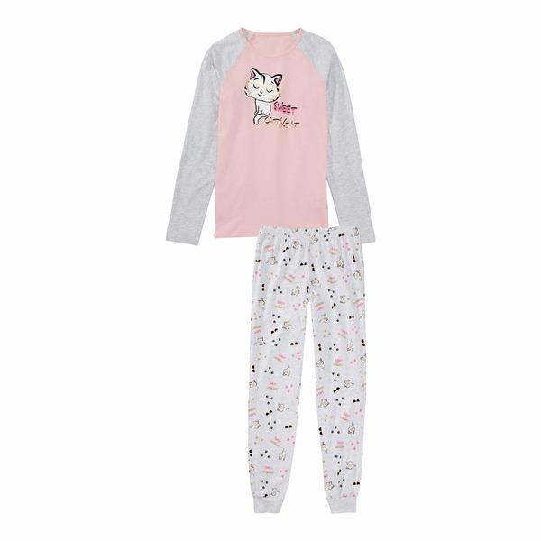 Mädchen-Schlafanzug mit Katzen-Aufdruck, 2-teilig