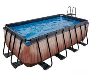 EXIT Frame Pool 4x2x1,22m (12 V Sandfilter), Holz Optik