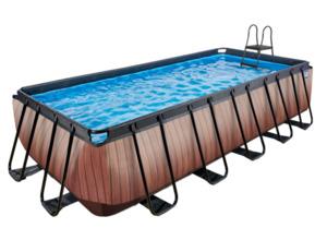 EXIT Frame Pool 5,4x2,5x1,22m (12 V Sandfilter), Holz Optik