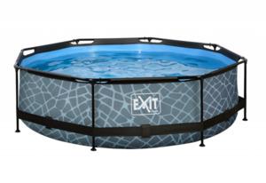 EXIT Frame Pool ø300x76cm (12 V Kartusche Filterpumpe), grau