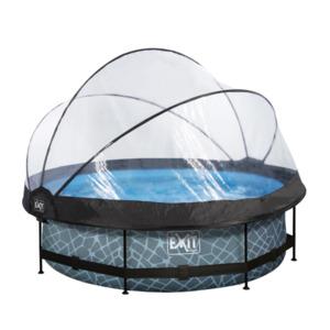 EXIT Frame Pool ø300x76cm (12 V Kartusche Filterpumpe), grau inkl. Sonnendach