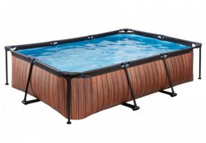 EXIT Frame Pool 300x200x65cm (12 V Kartusche Filterpumpe), Holz Optik