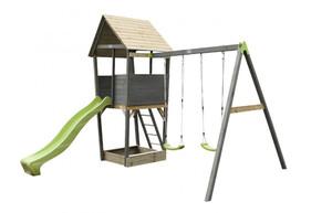 EXIT Aksent Spielturm mit Doppelschaukel (FSC Mix 70%)
