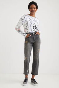 Straight Cropped Jeans Cosmic