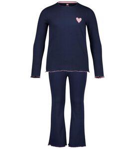 HEMA Kinder-Pyjama-Schlaghose, Gerippt Dunkelblau