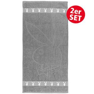"""PLAYBOY Frottierwaren """"Playboy"""" Handtuch, ca. 50 x 100 cm, Silbergrau - 2er Pack"""