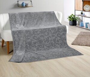 Bella Casa XXL-Kaschmir-Touch-Decke, ca. 180 x 220 cm, Silbergrau