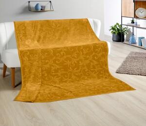 Bella Casa XXL-Kaschmir-Touch-Decke, ca. 180 x 220 cm, Senf