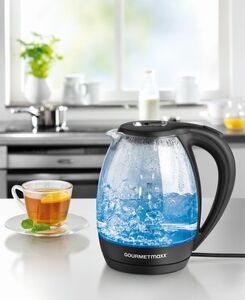 GOURMETmaxx Glas-Wasserkocher LED Beleuchtung 1,7l 2200W schwarz