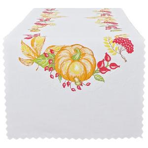 """Bella Casa Leinenoptik Tischläufer 3D """"Herbst"""", Eckig ca. 40 x 135 cm, Kürbis"""