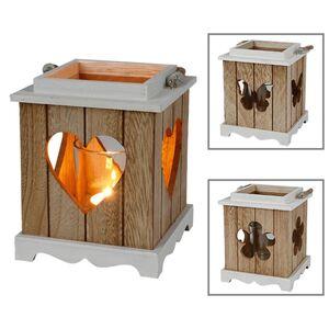 Holzlaterne mit Seilgriff und Glaseinsatz 14x17x14cm Natur/Weiß