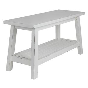 Holz-Sitzbank Ranch mit Ablagefläche 90x35x48cm Antik-Weiß