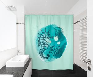 IDEENWELT Textiler Duschvorhang Seepferdchen