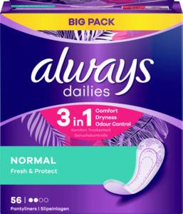 Always Dailies 3in1 Normal Fresh & Protect Slipeinlagen Big Pack
