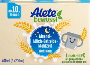 Alete bewusst Abend-Milch-Getreide-Mahlzeit Mehrkorn ab 10. Monat