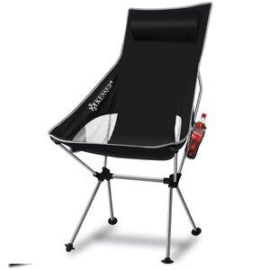 KESSER Campingstuhl faltbar mit hoher Rückenlehne bis 120 kg mit Getränkehalter, Grau