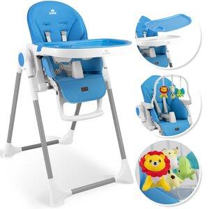 KIDIZ 3in1 Kinderhochstuhl Spielbügel höhenverstellbar verstellbare Rückenlehne, Blau