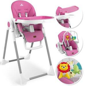 KIDIZ 3in1 Kinderhochstuhl Spielbügel höhenverstellbar verstellbare Rückenlehne, Rosa