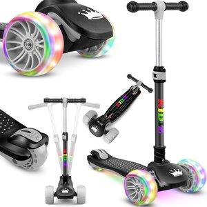 KIDIZ Dreiradscooter mit PU LED leuchtenden Räder und höhenverstellbar, Schwarz