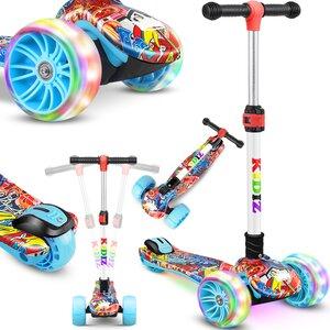 KIDIZ Dreiradscooter mit PU LED leuchtenden Räder und höhenverstellbar, Mehrfarbig