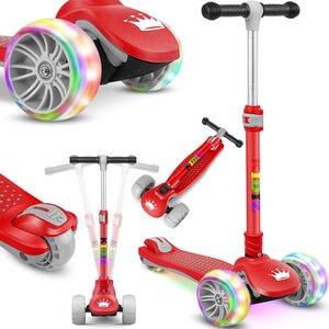 KIDIZ Dreiradscooter mit PU LED leuchtenden Räder und höhenverstellbar, Rot