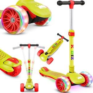 KIDIZ Dreiradscooter mit PU LED leuchtenden Räder und höhenverstellbar, Gelb