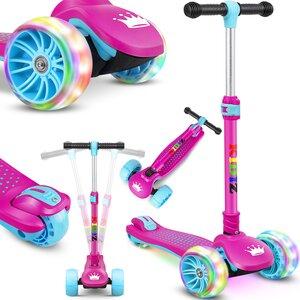 KIDIZ Dreiradscooter mit PU LED leuchtenden Räder und höhenverstellbar, Rosa