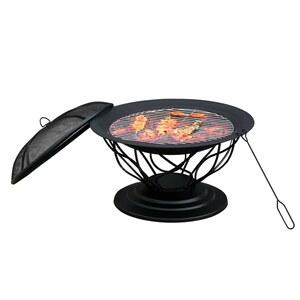 Outsunny 2-in-1 Feuerschale mit Grillrost schwarz