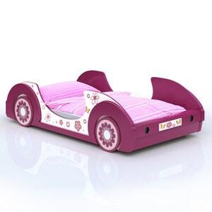 Deuba Kinderbett aus Holz 90x200cm Gestell mit Rost pink weiß Autobett