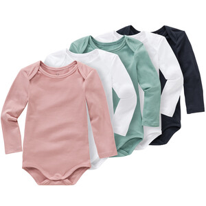 5 Baby Langarmbodys in verschiedenen Farben