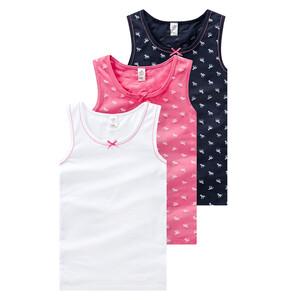 3 Mädchen Unterhemden mit Zierschleife