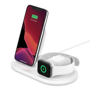 Belkin 3-in-1 wirel. Ladestation für Apple Watch/iPhone, weiß