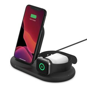 Belkin 3-in-1 wirel. Ladestation für Apple Watch/iPhone, schwarz