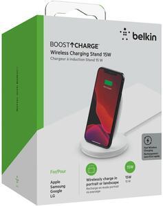 Belkin Wireless BOOST CHARGE 15W Ladeständer, inkl. Kabel + 24-W-Quick Charge 3.0-Netzteil, weiß