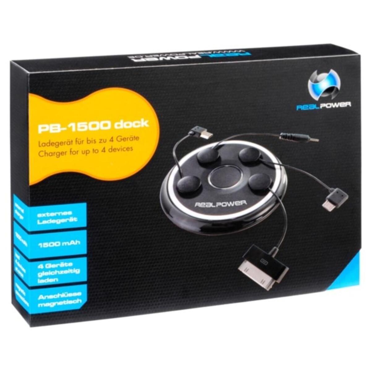 Bild 1 von Realpower PB-1500 - Externer Batteriensatz - Li-Pol - 1500 mAh - 4 Ausgabeanschlussstellen - auf Kabel: Micro-USB - Schwarz