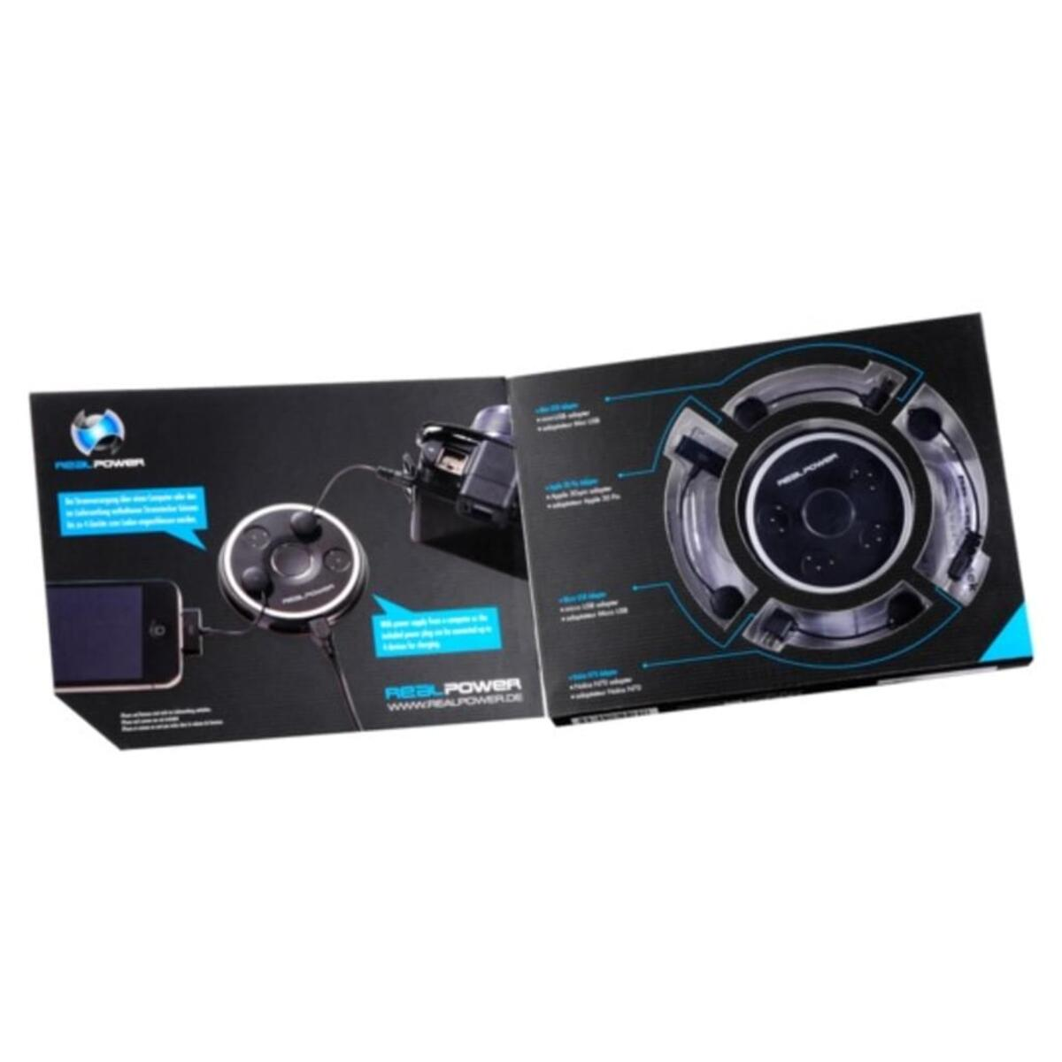 Bild 2 von Realpower PB-1500 - Externer Batteriensatz - Li-Pol - 1500 mAh - 4 Ausgabeanschlussstellen - auf Kabel: Micro-USB - Schwarz