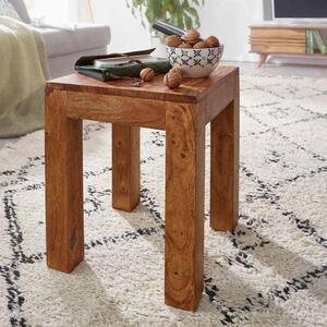 WOHNLING Beistelltisch MUMBAI Massiv-Holz Sheesham 35 x 35 cm Wohnzimmer-Tisch Design dunkel-braun Landhaus-Stil Couchtisch