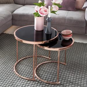 WOHNLING Design 2er Set Satztisch ø 42 cm / 45 cm  Metall Glas Schwarz / Kupfer   Couchtisch verspiegelt Wohnzimmertisch modern   Glastisch Beistelltisch rund