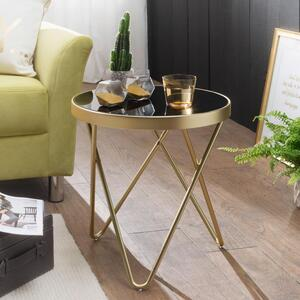WOHNLING Design Beistelltisch DANA 42x46x42cm Couchtisch Rund Schwarz/Matt Gold   Designer Glas-Wohnzimmertisch modern   Glastisch mit Metallgestell   Kleiner Sofatisch   Runder Metalltisch Wohnzimme