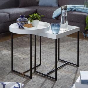 WOHNLING Satztisch 2er Set Weiß WL5.980 Holz/Metall Beistelltische Modern   Design Tabletttisch 2-Teilig   Kleine Couchtische mit Ablage   Dekotische Rund und Rechteckig   Coole Tische für Wohnzimm