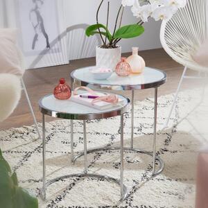 WOHNLING Design Beistelltisch Rund Ø 50/42 cm - 2 teilig Weiß Silber mit Glasplatte   Wohnzimmertisch 2er Set   Satztisch Milchglas   Couchtisch